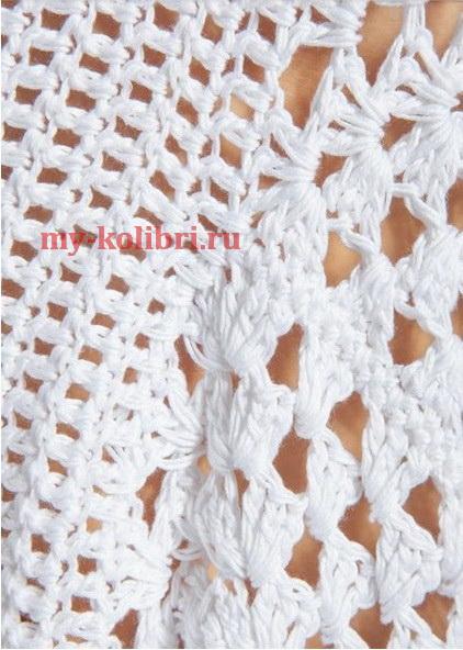 Летний пуловер крючком из хлопка