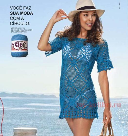 пляжное платье крючком из квадратных мотивов