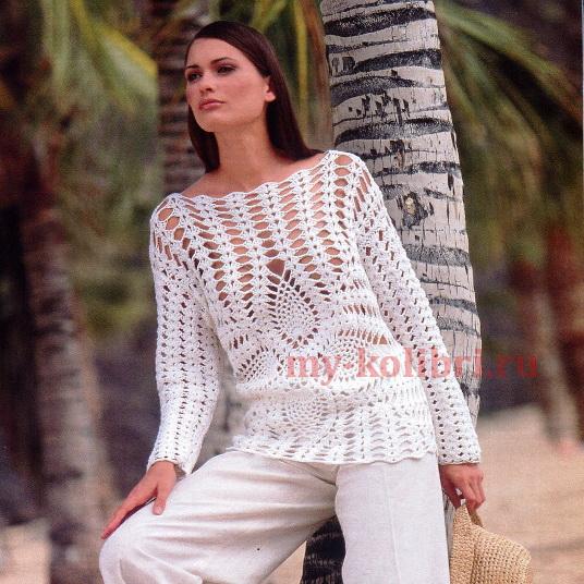 Ажурный пуловер крючком с ананасами3