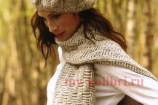 Кашемировый берет спицами и шарф_4
