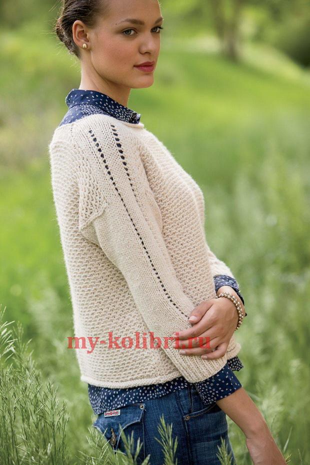 Модный пуловер спицами «Wheaten»1