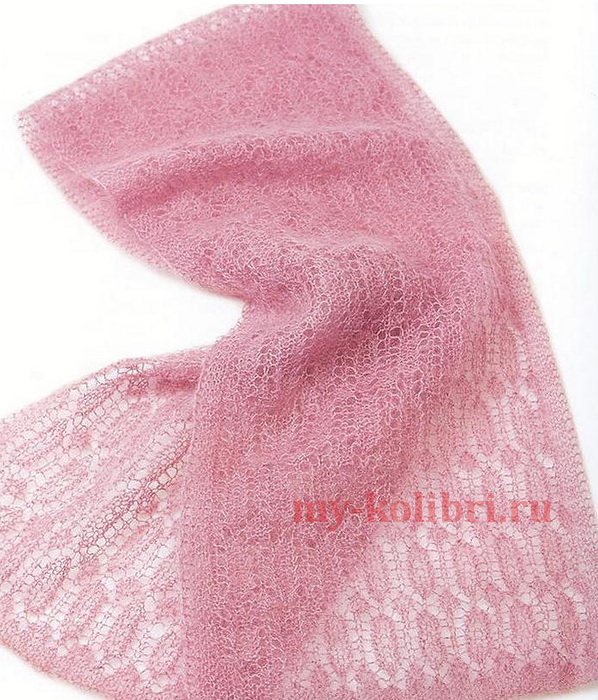 Мохеровый шарф спицами «Невесомость»