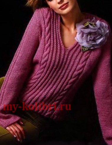 вязание свитера спицами с косами и V образным вырезом горловины