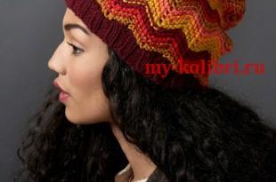 Шапка спицами из разноцветной пряжи Make Waves Hat