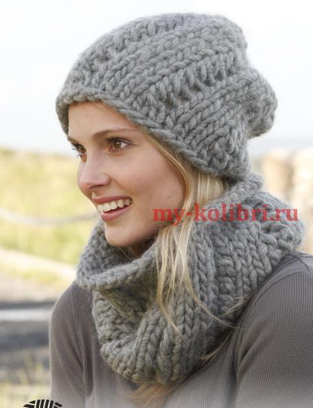 шапочка бини спицами с шарфом воротником из толстой пряжи