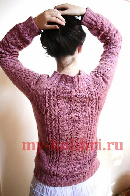 Женский свитер спицами «Цветение»: схема и описание вязания