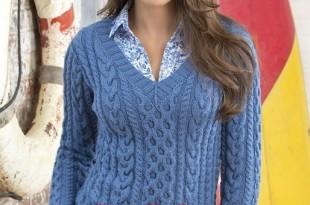Женский пуловер спицами узором из кос- схема _2
