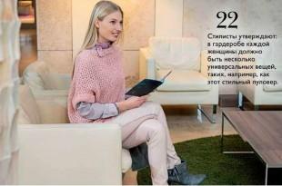 Пуловер спицами из толстой пряжи сетчатым узором1