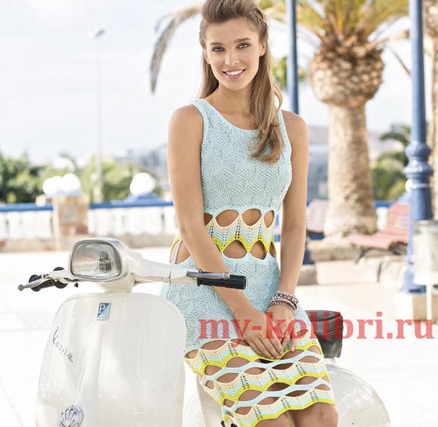 Летнее платье спицами с зигзагообразными вставками фото_3