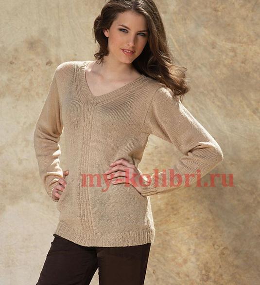 свитер спицами платочной вязкой фото_3