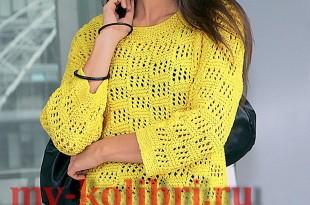 Модный свитер спицами сетчатым узором и боковыми разрезами3