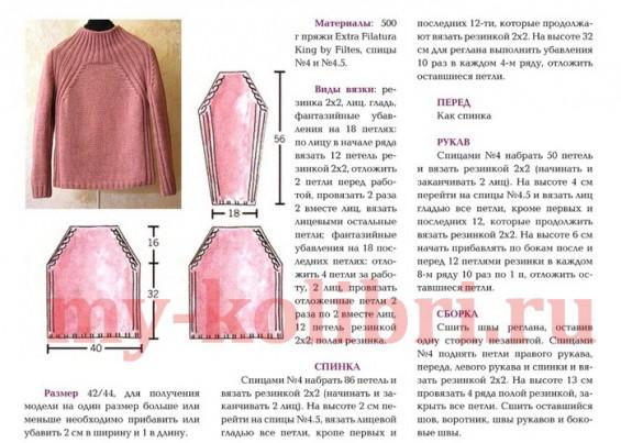 Простой свитер спицами лицевой гладью и рукавом реглан фото_4