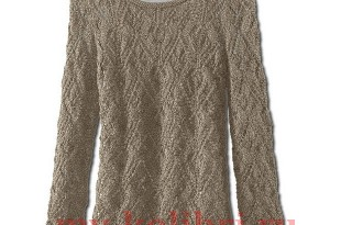 Пуловер спицами ажурными узорами на осень фото_2