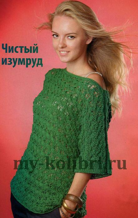 Пуловер спицами  с цельнокроеными рукавами и вырезом лодочка_2
