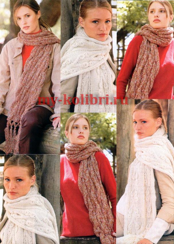 Два простых шарфа спицами однотонный и меланж