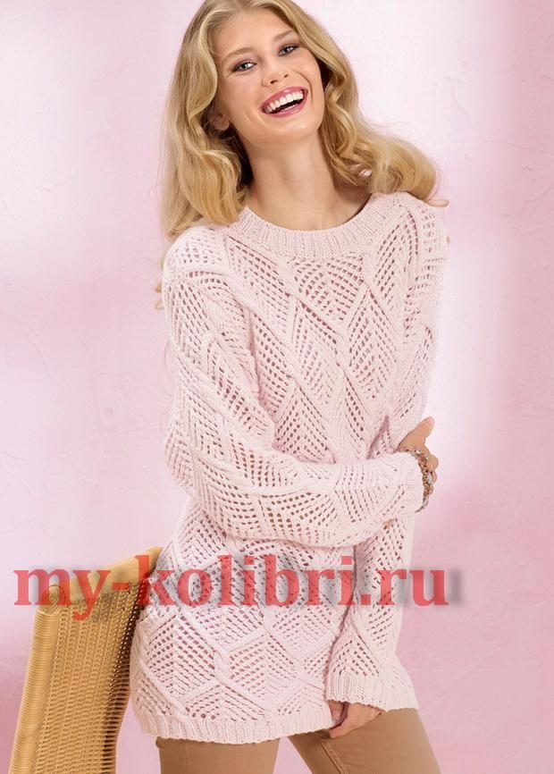 Удлиненный пуловер спицами с большими ажурными ромбами 2