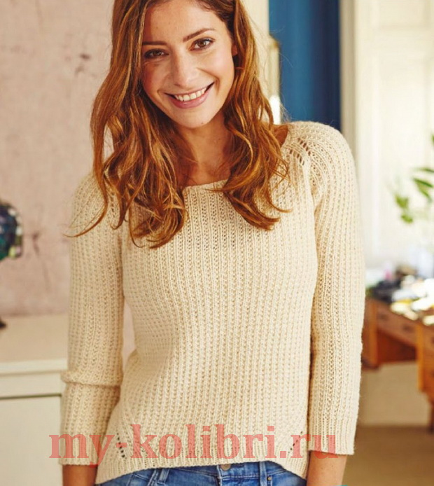 Укороченный пуловер спицами с удлиненной спинкой_4