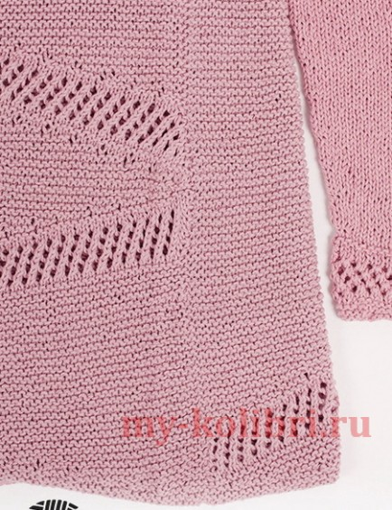 Пуловер спицами платочной вязкой_1