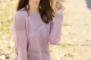 Пуловер спицами платочной вязкой_2