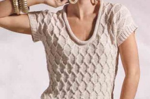 Пуловер спицами с коротким рукавом фантазийным узором_3