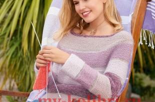 Свитер спицами платочной вязкой с кокеткой реглан_2