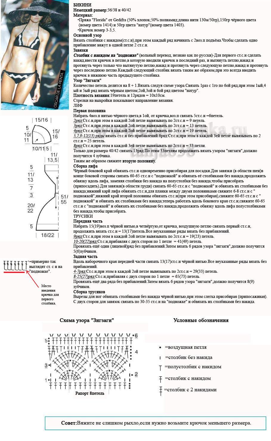 Купальник крючком для начинающих схема и описание