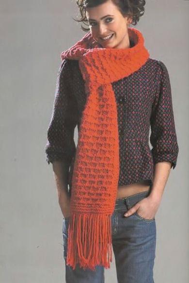 Стильный шарф спицами узором «Ячейки»