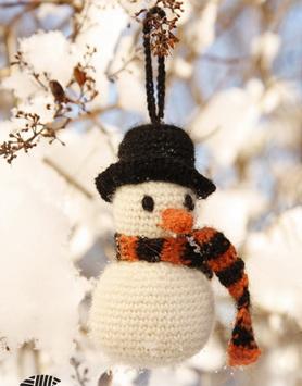 Игрушки крючком: снеговик на елку