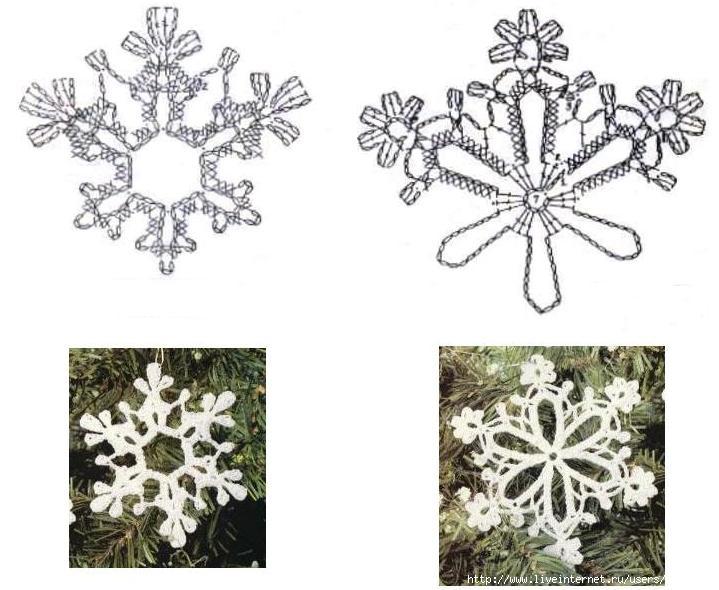 Снежинки крючком схемы: