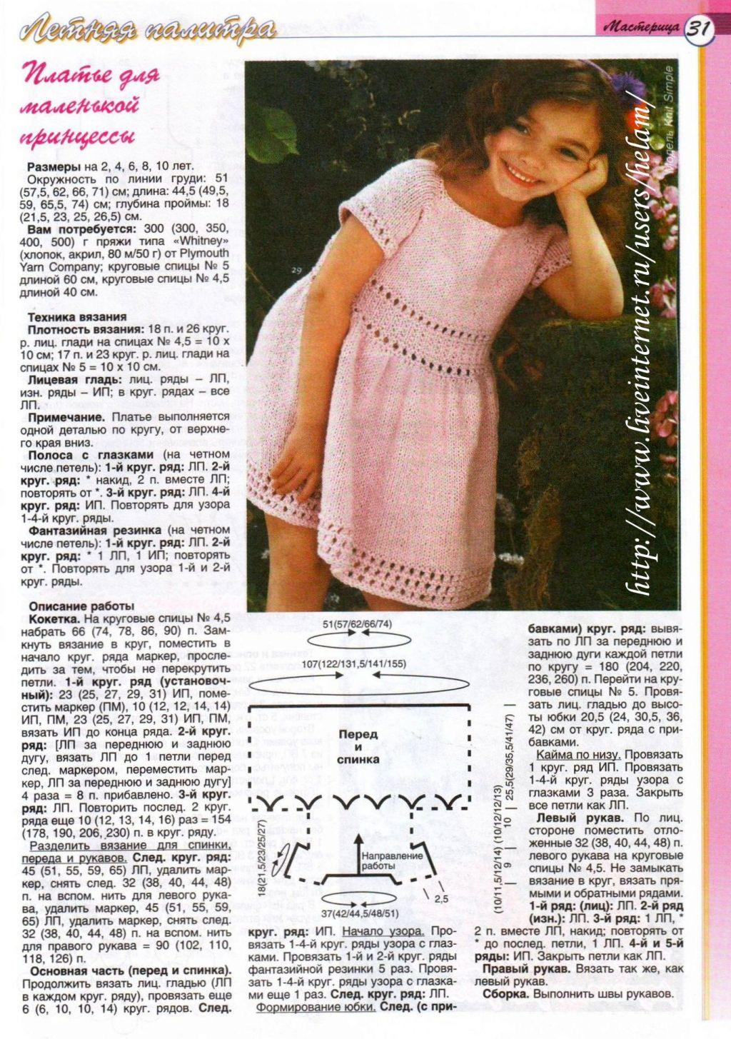 Вяжем платье для девочки 5 лет спицами