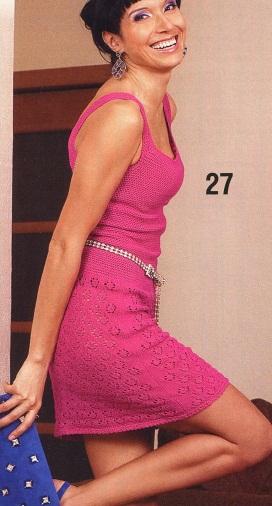 Мини - платье крючком и спицами с фантазийным узором