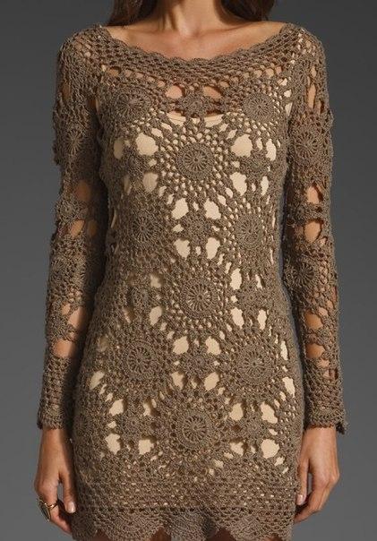 Вязание крючком платья из