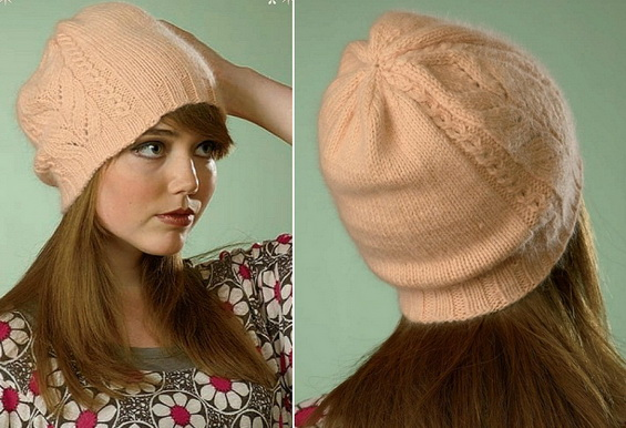 Женская шапка спицами из