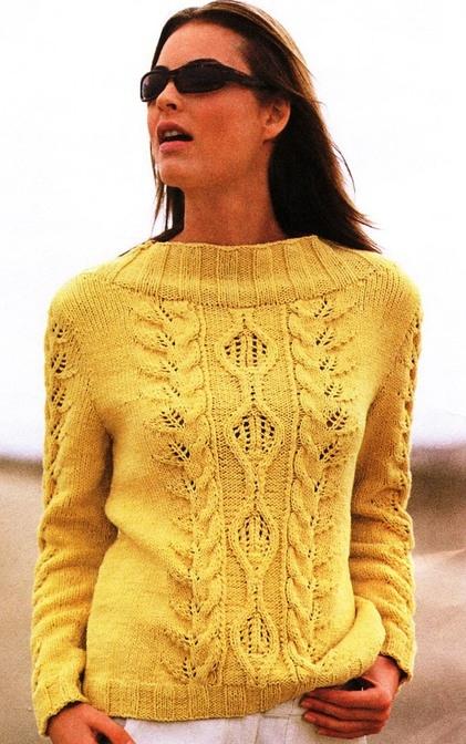 Женский свитер спицами с