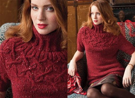 Пуловер спицами с арановой