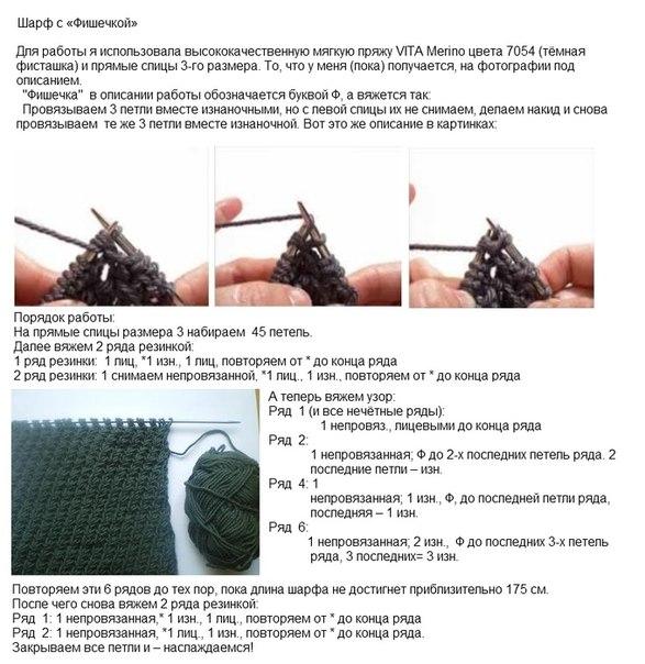 Вязание и схема мужского шарфа 323