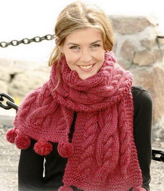 Вязание шарфа спицами узором