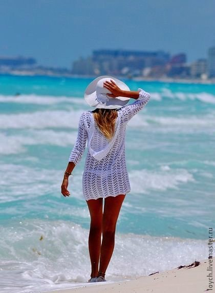 Простая пляжная туника крючком
