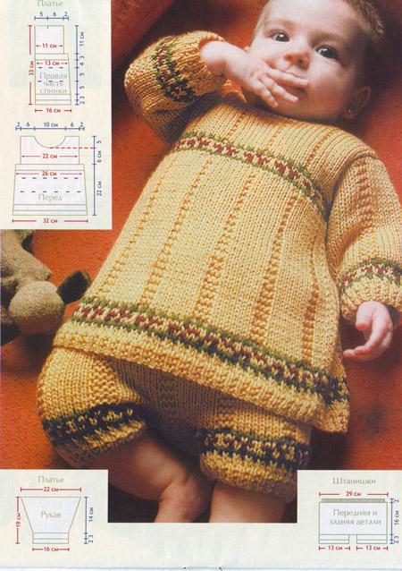 Платье и штанишки спицами для малышки