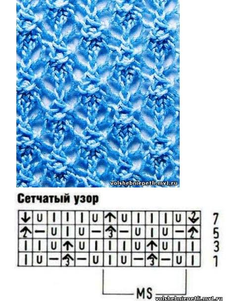 Схемы вязания узора сетки спицами схема