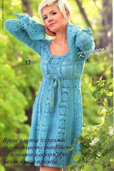 Летнее платье крючком из квадратных мотивов