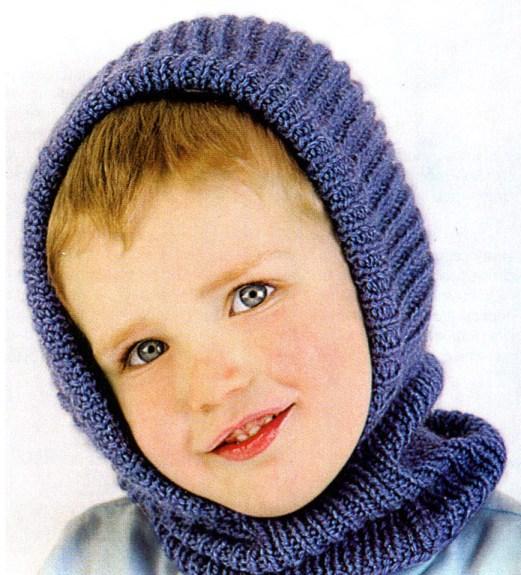 Шапка-шлем спицами для мальчика