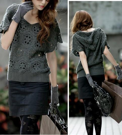 Модный свитер крючком из шестиугольных мотивов