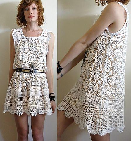 Платье крючком из мотивов «Rebecca» (подборка узоров)
