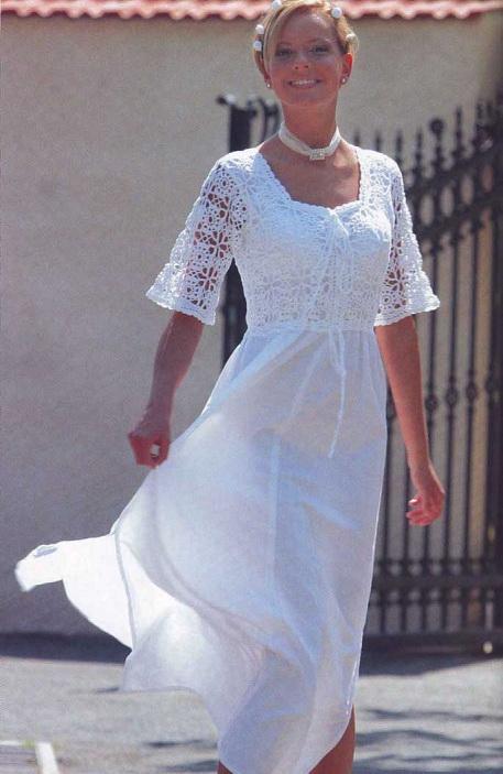 Комбинированное платье крючком