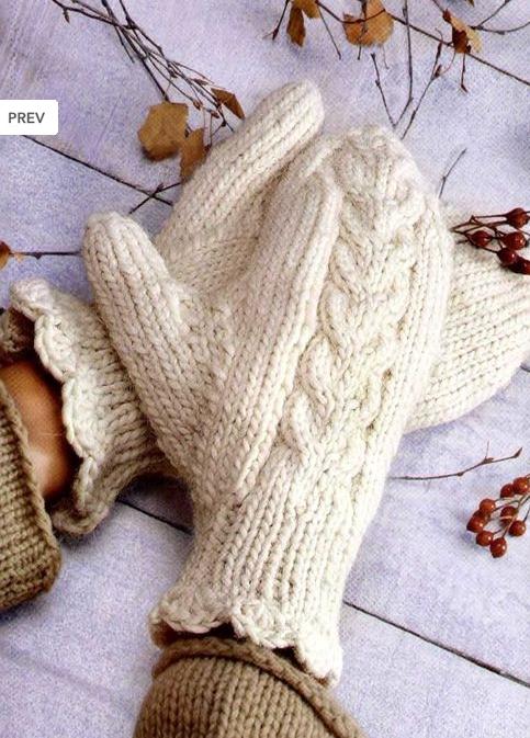 Вязание варежек спицами узором