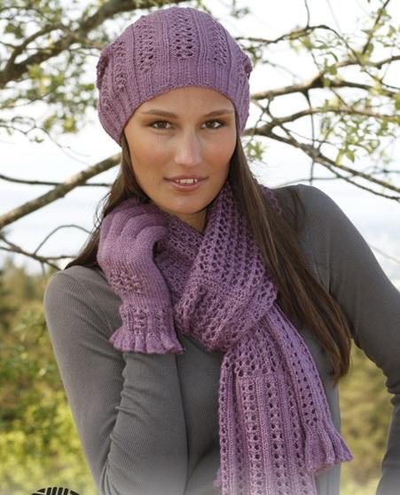Шапка, шарф и перчатки спицами «Delilah» из Drops