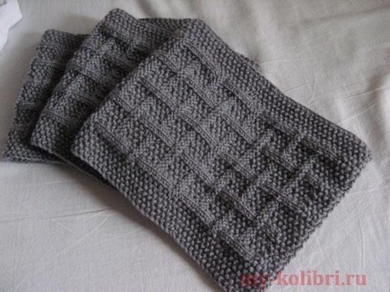 Мужской шарф спицами «На eго