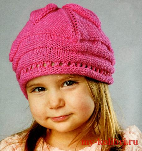 Берет для девочки спицами «Фуксия» на 2-3 года