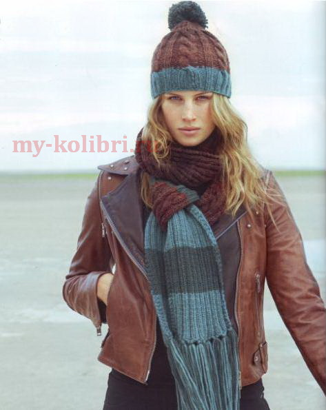 Вязание шапки спицами узором из кос в комплекте с шарфом